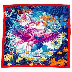 "Hermes Cashmere Flamingo 55"" Shawl in Box"