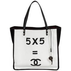 Chanel Large Black & White Canvas Tote
