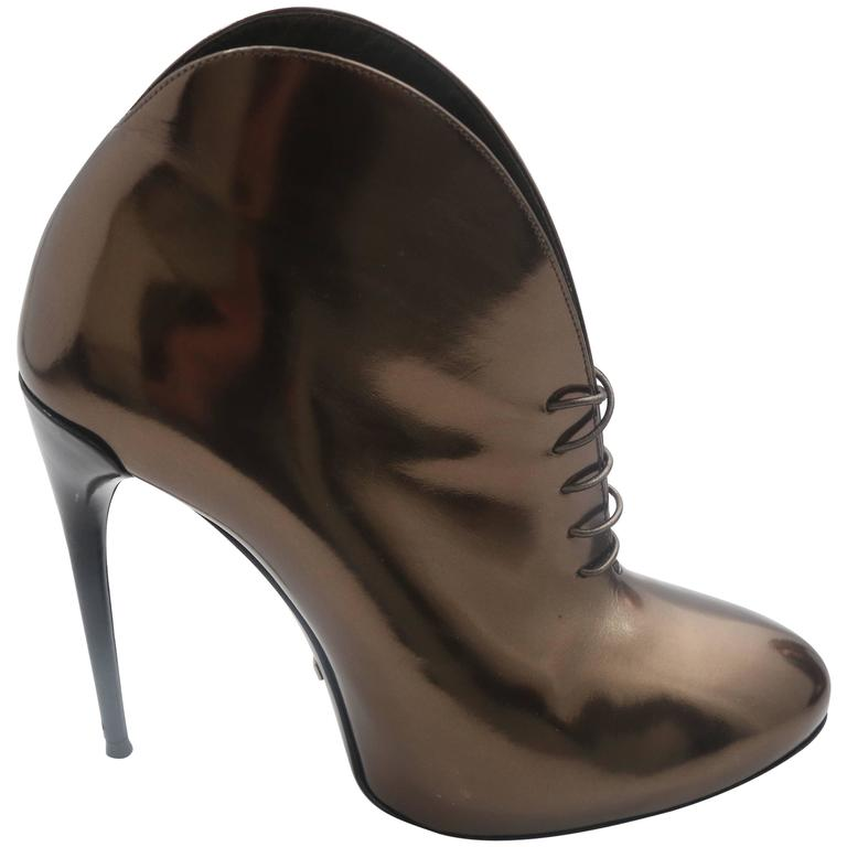 Gucci Tie Up Metallic Bronze Booties  1