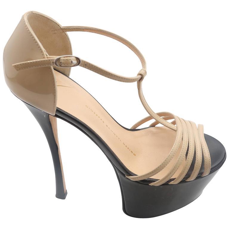 Giuseppe Zanotti Nude& Black Patent Leather Double Platform TT-Strap Sandals For Sale