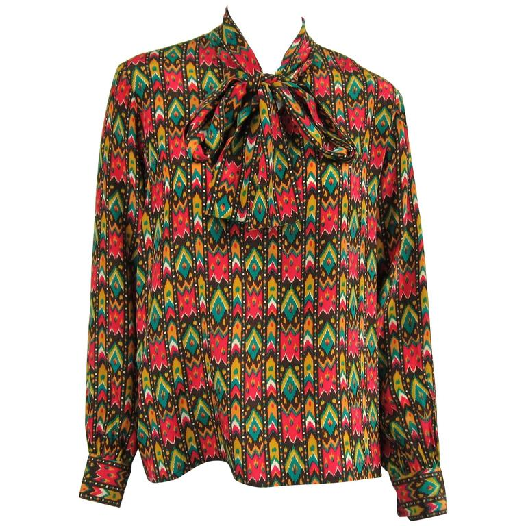 1970s Vintage Yves Saint Laurent Silk Multi Colored Blouse Russian Collection 76 For Sale