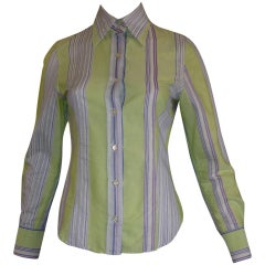 ETRO Textured Cotton Shirt with a Lace Design (40 ITL)