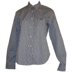 "ETRO Grey and White ""Wave"" Button-Down Shirt (44 ITL)"
