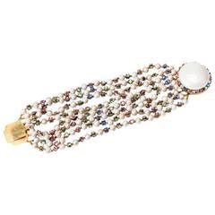 Miriam Haskell Freshwater Multi Strand Pearl Bracelet