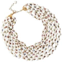 Miriam Haskell Multi Strand Freshwater and Pastel Rose Monte Necklace