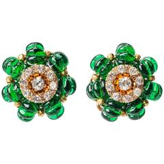 Miriam Haskell Faux Emerald Cotele Bead Earclips