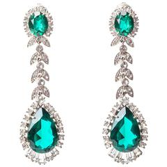 Elegant Faux Emerald Paste Earrings
