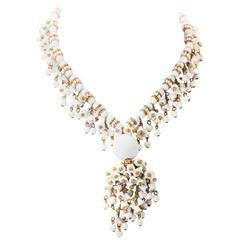 Miriam Haskell Elaborate Milk Glass Bell Flower Necklace
