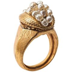 Miriam Haskell Baroque Pearl Cluster Ring