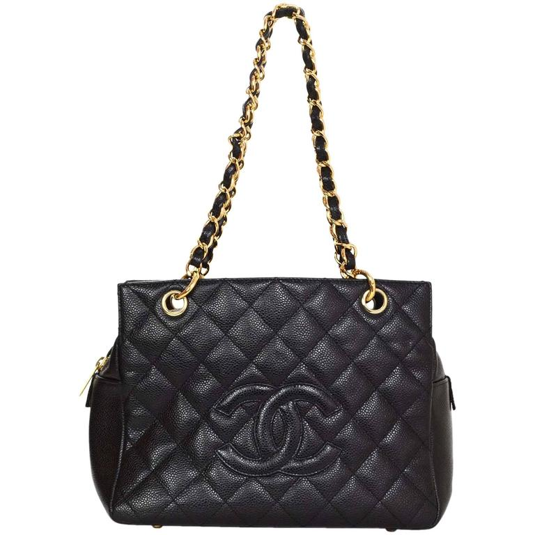 3cdd448f506a Chanel Black Caviar Leather CC Petite Timeless Tote PTT Bag GHW For Sale