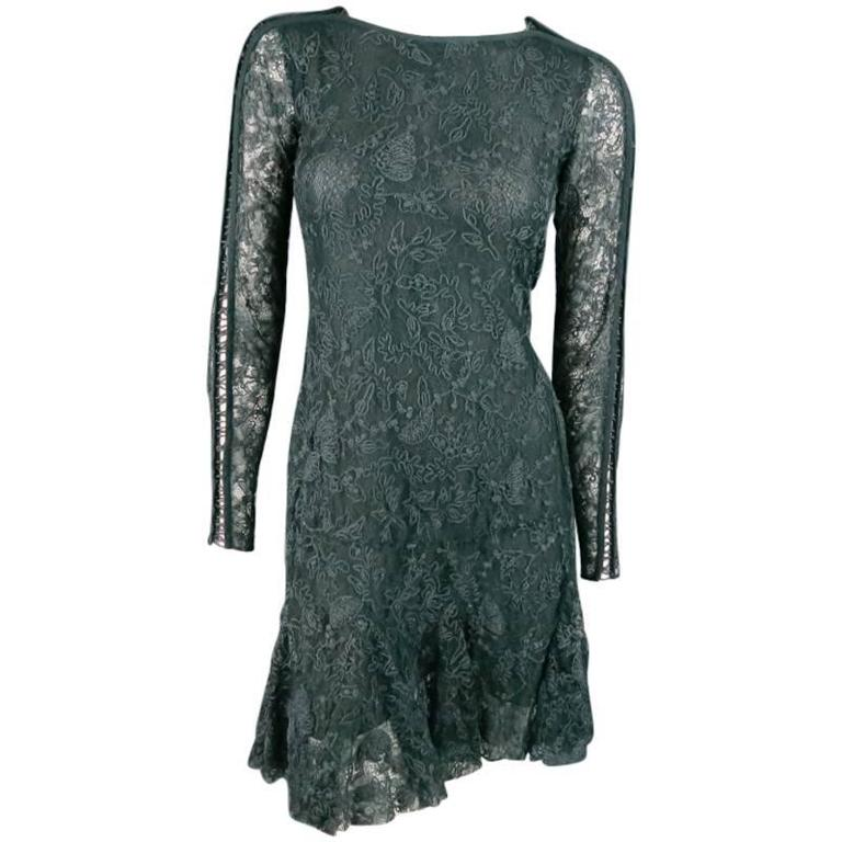 ISABEL MARANT Size 6 Teal Lace Tied long Sleeve Ruffle Skirt Shift Dress 1