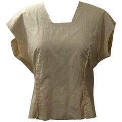 Comme des Garçons Deconstructed Boxy Cream Zip Back Silk Poly Shirt
