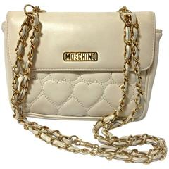 Vintage MOSCHINO white heart stitch lambskin shoulder bag, fanny pack, chain bag