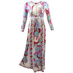 1960s Bessi Silk Jersey Colorful Print Maxi Dress