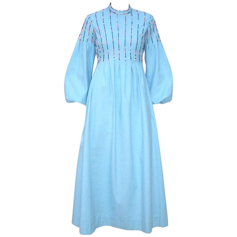c.1970 Rizkallah for Malcolm Starr Cotton Pique Dress With Poet Sleeves