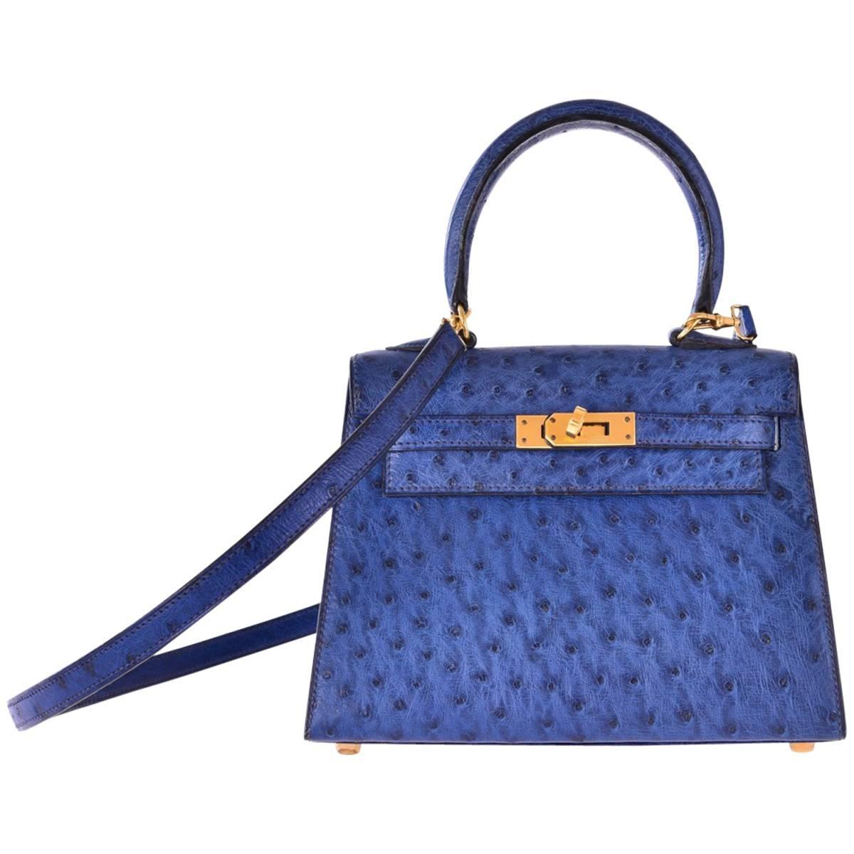 f1508c4a12b Hermes Kelly 20cm Ostrich Blue Sapphire with Gold Hardware JaneFinds For  Sale at 1stdibs