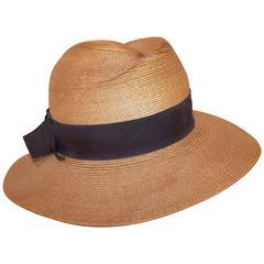 1970's Frank Olive Stylized Straw Fedora Hat
