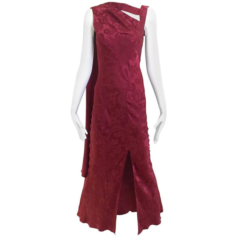 Vintage  Christian Dior by John Galliano maroon silk jacquard gown 1