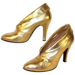 1970's Sergio Rossi Gold Leather Disco Booties