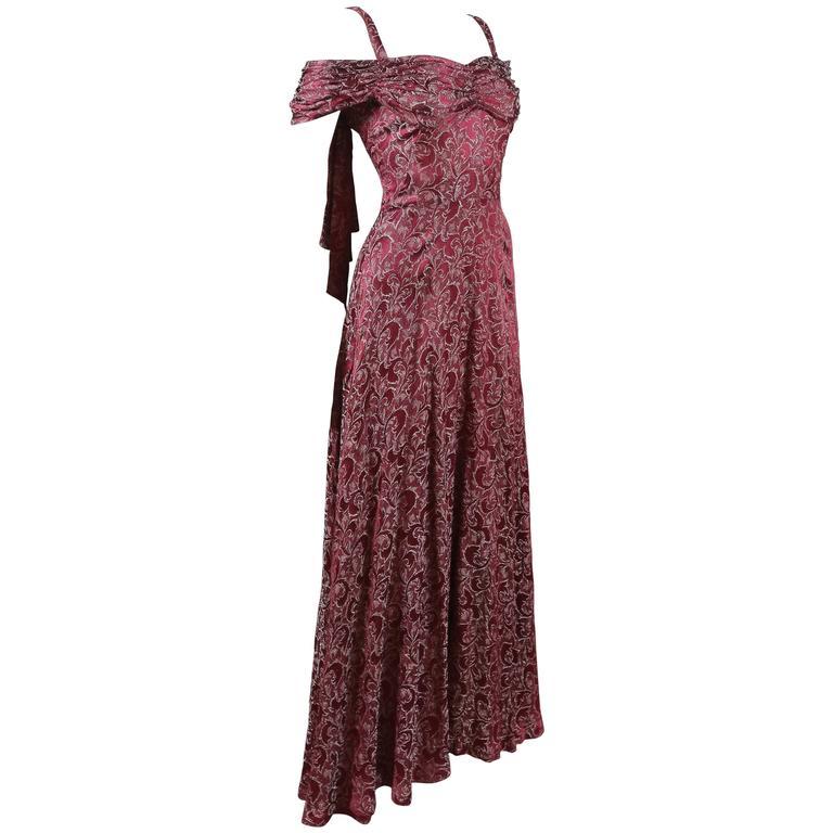 Bias cut off-the-shoulder lamé silk evening dress, C. 1930s