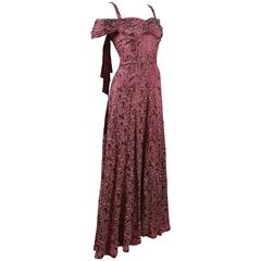 Bias cut off-the-shoulder lamé silk evening dress, C. 1930s