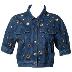 Moschino Vintage 1990s Cut Out Rivet Denim Jeans Jacket