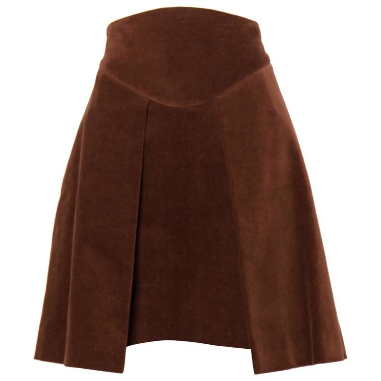 Unworn Vivienne Westwood Anglomania Brown Velvet Skirt with Original Tags
