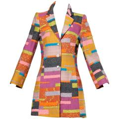 Christian Lacroix Vintage Woven Color Block Coat