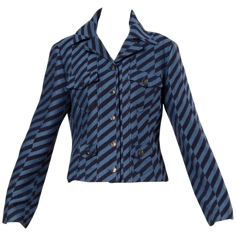 Christian Lacroix Vintage Striped Two Tone Blue Military Jacket, 1980s
