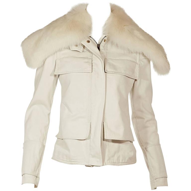 White Gucci Fur Collar Denim Jacket