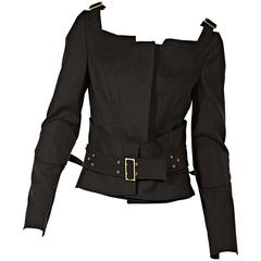Black Gucci Wool-Blend Belted Jacket