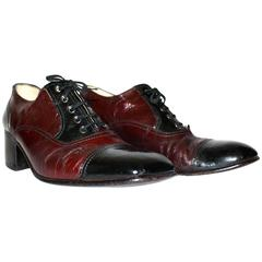 70s Black and Cordovan Cap Toe Leather Shoes