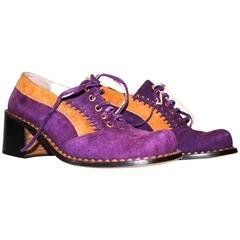 60s Mary Poppins Purple & Tan Suede Lace Up Shoes