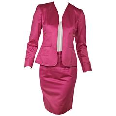 Hot Pink Chanel Cotton Skirt Suit Set