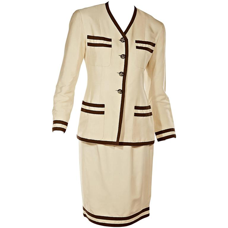 Beige & Brown Chanel Skirt Suit Set