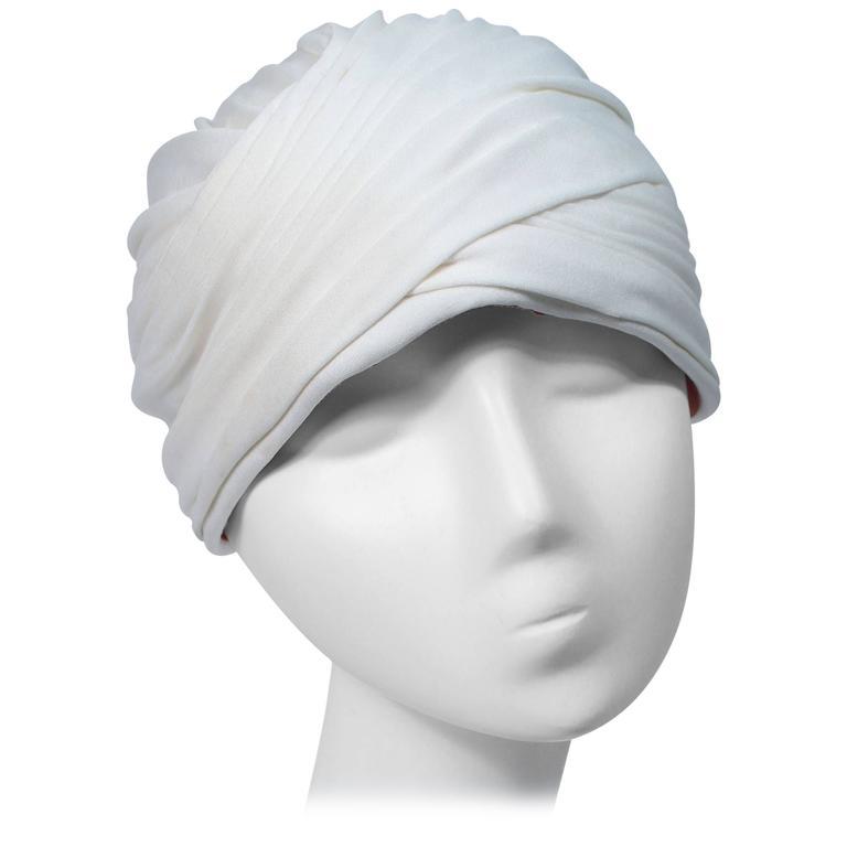 ADOLFO GIORIGO BEVERLY HILLS Ivory Turban Hat