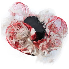 VINTAGE SAKS FIFTH AVE Black Hat with White and Red Feathers