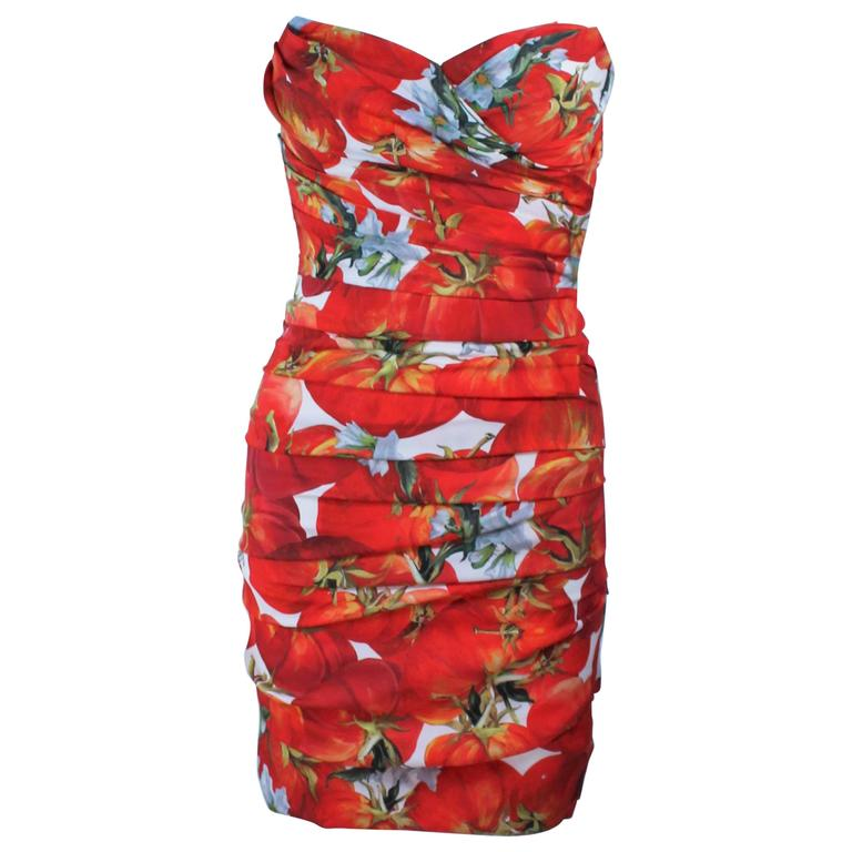 DOLCE AND GABBANA Ruched Stretch Silk Fruit Print Dress Size 38