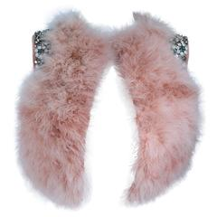 GIVENCHY Pink Marabou Bolero Style Jacket with Rhinestone Jewel Applique Size 38