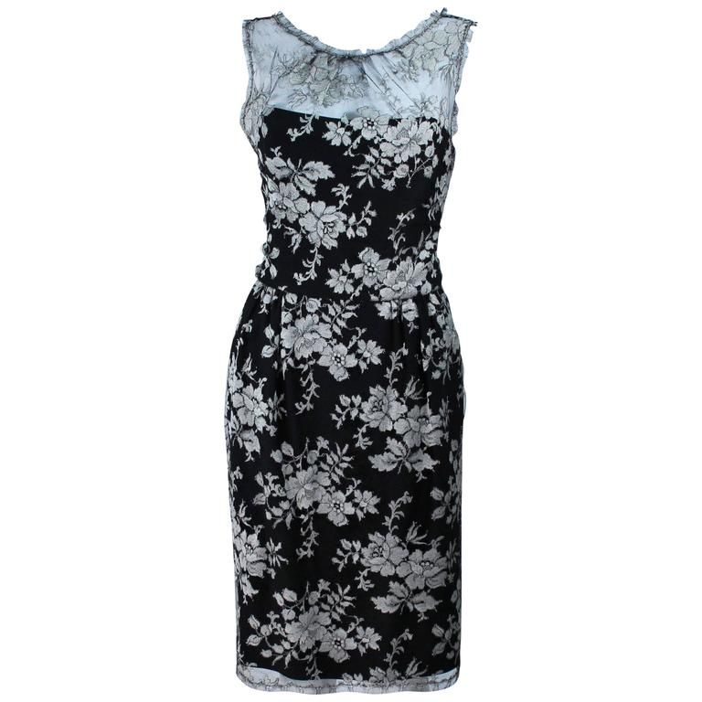 MONIQUE LHUILLER Black and Silver Lace Cocktail Dress Size 10 For Sale