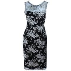 MONIQUE LHUILLER Black and Silver Lace Cocktail Dress Size 10