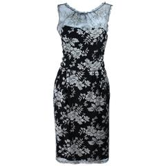 MONIQUE LHUILLER Black and Silver Lace Cocktail Dress Size 10