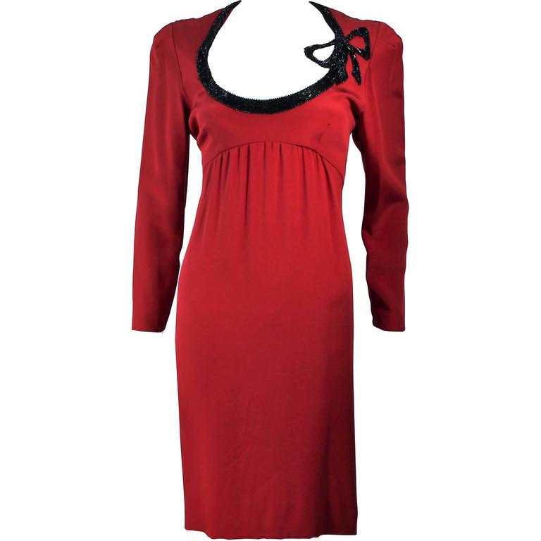 BOB MACKIE Burnished Red Silk Dress with Black Beaded Bow Neckline Size 8 1