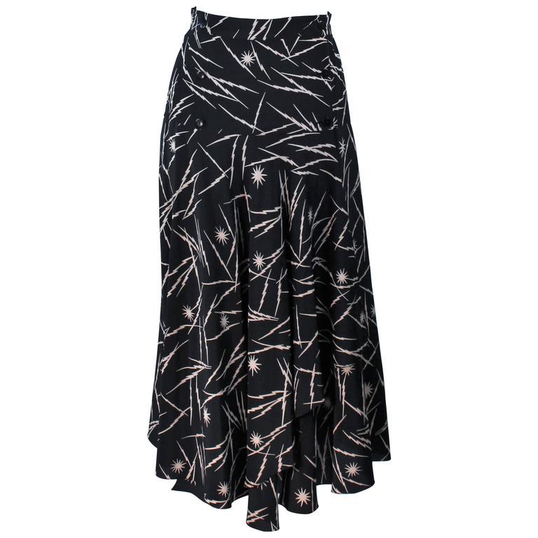 KRIZIA Electrified Black Silk Print Draped Wrap Skirt Size 2 4 For Sale