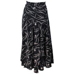 KRIZIA Electrified Black Silk Print Draped Wrap Skirt Size 2 4