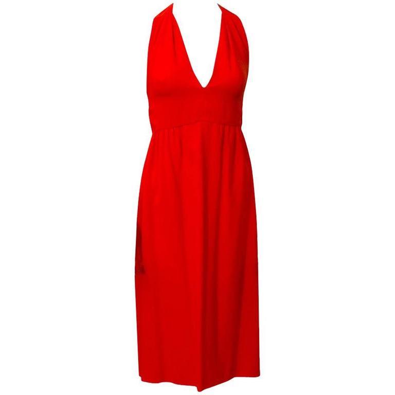 Malcolm Starr Red Halter Dress