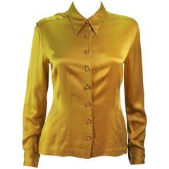 CHANEL Mustard Silk Top Stitch Button Up Blouse Size 6