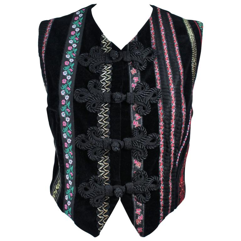 DOLCE & GABBANA Velvet Vest with Trim Size Small For Sale