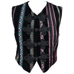 DOLCE & GABBANA Velvet Vest with Trim Size Small