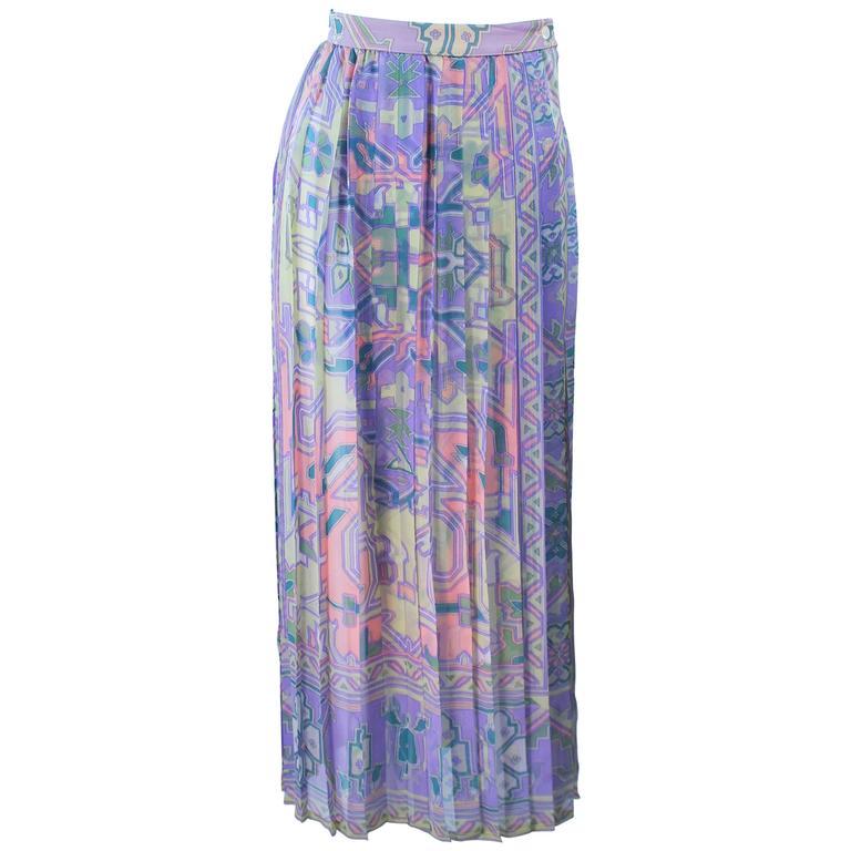 UNGARO Sheer Patterned Pleated Skirt Size 4